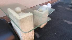 Outdoor/indoor stone effect tables (glass tops)