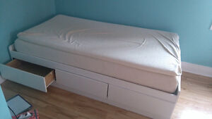 Twin bed frame with drawers and memory foam matress