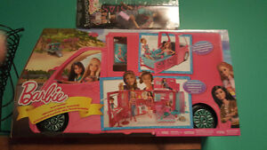 BRAND NEW BARBIE GLAM CAMPER AND 1 BRAND NEW PACKAGED BARBIE