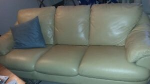 Beige leather couch