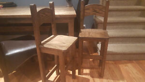 Solid oak kids bar stools/chairs