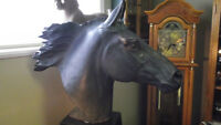 Black Beauty Horse's Head on Pedestal Base Life Sized