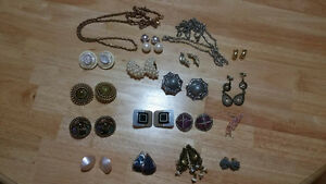 16 pair of costume jewellery clip on earrings and 2 chains $40