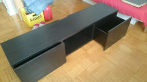 BESTÅ TV Bench Stand Black Brown with drawers
