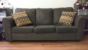 LEON's Double Espresso Pullout Couch (Double sized Mattress)