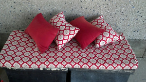 Set of 5 outdoor bench cushions