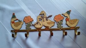 Vintage Brass Duck Towel-Coat Rack