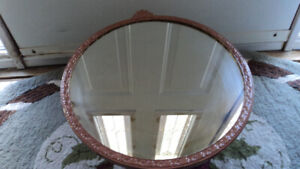 Vintage Tin Round Mirror with Cupid Top