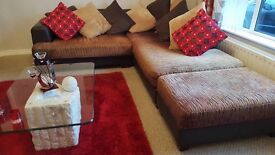 Leather cream an brown leather sofa