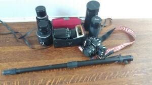 Canon AV-1 35mm SLR Camera with lenses