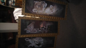 Set of Three Animal Pictures with Gold Frames