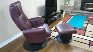Leather swivel, rocking recliner with ottoman