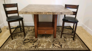 Turkish Marble Counter height dining table set