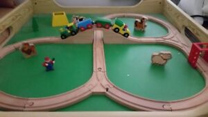 Wooden Train Set with Table & Built-in Drawer