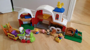 ferme et train Little People de Fisher Price + animaux/bonhommes