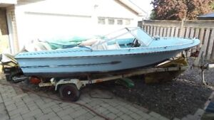 15 ft Runabout moter 65 with trailer 1200 obo