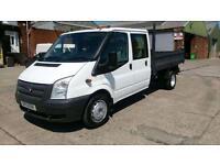 2013 13 FORD TRANSIT 2.2 350 DRW 1D 99 BHP CREW CAB TIPPER 1 OWNER 2 KEYS NO VAT