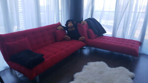 Two Red Sofa Beds