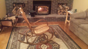 Wood and rattan rocking chair