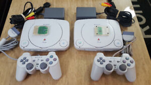 2x Playstation 1 Mini Systems w/ controllers, cables & mem cards