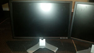 """Two Dell 22"""" LCD Monitors with adjustable stands"""