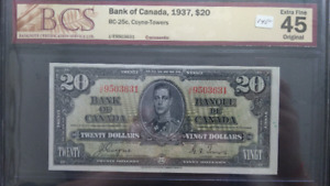 Canadian 1937  20 Dollars Bank Note