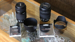 Canon IS STM Lenses 18-135mm and 55-250mm /w UV filters & Hoods