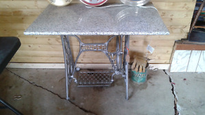 Marble top table sewing machine base
