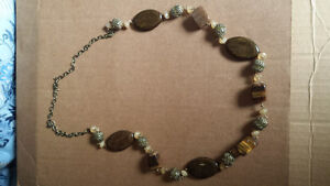 necklace longer style gold with brown