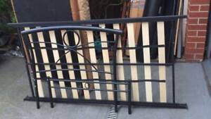 black metal single size bed frame with mattress   it is sturdy and goo
