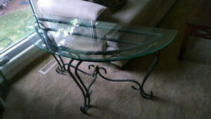 Glass/Metal Sofa Table