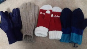 4 pairs of adult mittens