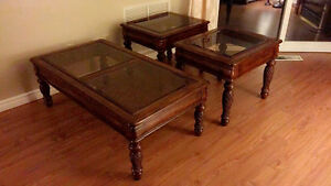 coffee table and two end tables - wooden with glass tops