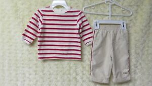 2 Pce George Pant Beige & Red/White Stripe Top Size 3 Mths