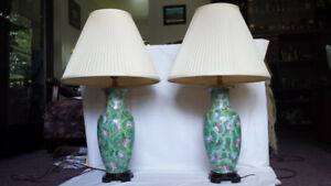 A Pair of Porcelain Lamps