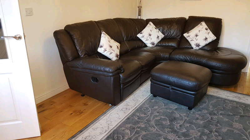 DFS Brown leather corner sofa with 1 Recline, plus Footstool | in Neath Port Talbot | Gumtree