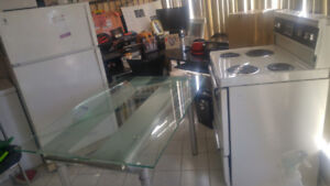 Fridge/stove and glass dinning table
