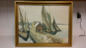 Vintage seascape oil painting