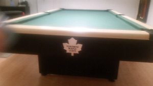 Custom Maple Leaf and Blue Jays Pool Table