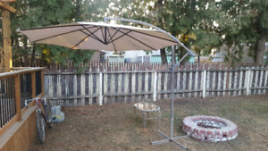 Backyard Umbrella and Side Table