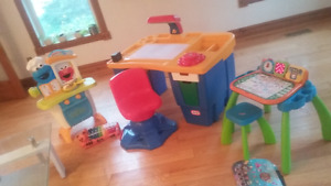 Little Tikes Desk & chair, Sesame Street Elmo Kitchen, Vtech Lea
