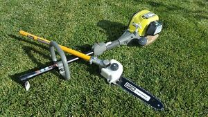 Ryobi 4 cycle 30cc power head and chain saw pruner attachment