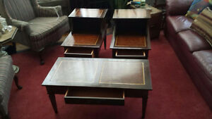 Vintage leather topped coffee and end tables - Blenheim