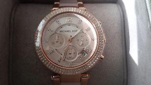 BNIB Michael Kors Parker Rose Gold-Tone Blush Acetate Watch