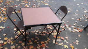 Old Fashion Folding Table with 2 folding chairs set.  Vintage