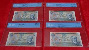 1979 Bank of Canada $5 Note CCCS Certified UNC-65 & 66 Gem Unc