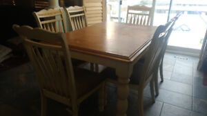 rustic dining set table + 6 chairs