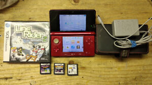 Nintendo 3ds, a few games, and a case