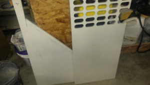 Two pieces of half inch white corian .