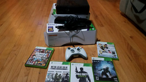 Xbox360, 250GB, Kinect, Controller, and 5 games